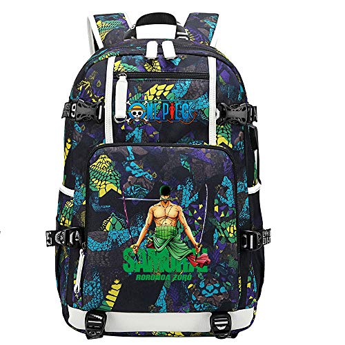 ZZGOO-LL One Piece Monkey·D·Luffy/Roronoa Zoro Anime Backpack Middle Student School Rucksack Daypack for Women/Men with USB-B