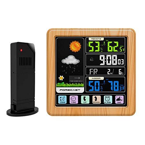 BIGMALL Wetterstation, Drahtloses Innen-Außen-Thermometer, Kalibrierbares Digitales Barometer Mit Wettervorhersage, Temperatur- Und Feuchtigkeitsüberwachungsanzeige