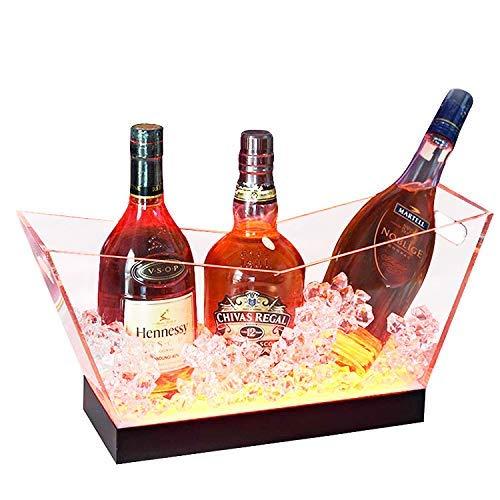 SILOLA Acrylique Clair LED Seau à Glace, Haute capacité rougeoyant vin Seau à Champagne pour Bar Party seaux à Glace fêtes en Plein air Maison Bricolage