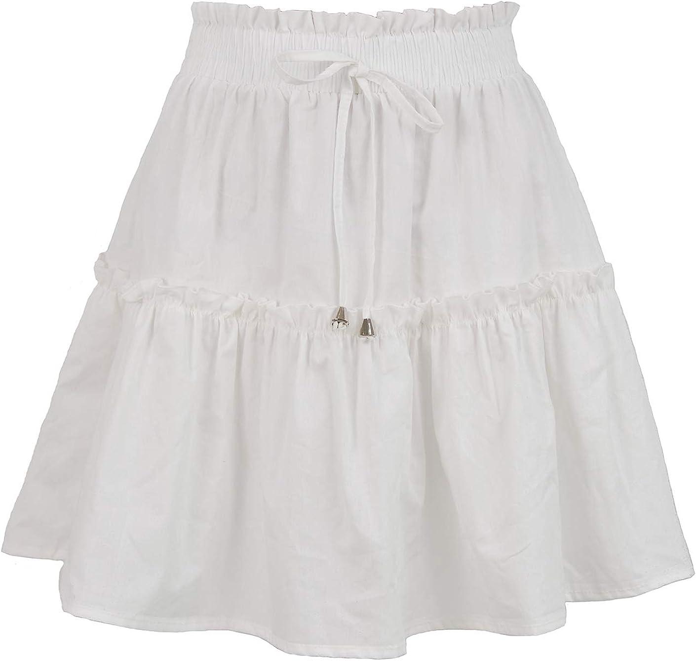 Summer Women's Mini Skirt High Waist A Line Skirt Casual Ruffle Drawstring Skater Pleated Short Skirt with Drawstring
