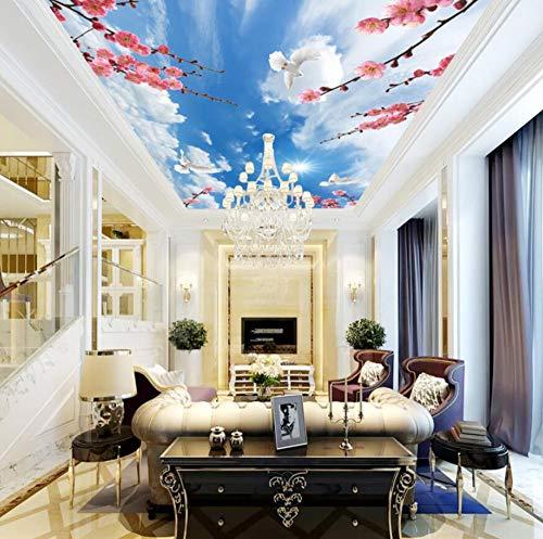 Grote op maat gemaakte verse vestiging bloemen van het plafond behangen naadloos muurschilderen van de vogels 3d 300 x 210 cm.