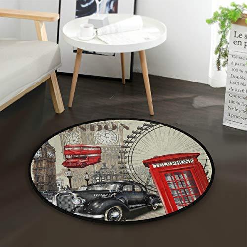 Mnsruu Tapis rond vintage Big Ben pour salon, chambre à coucher, 92 cm de diamètre