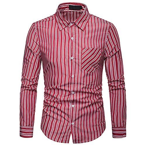 KCNS-OK Mannen Blouse Persoonlijkheid Mannen Gestreepte Casual Slim Lange Mouw Gedrukt Shirt Top Casual Heren Blouse,Rood, L,Verenigde Staten