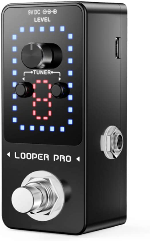 Mini Guitarra Efectos Looper Pedal de Bypass Real, 9 Loops 40 Minutos de grabación con el Cable USB, Audio de 24 bits, Soporte de Carga o Descarga de Archivos WAV Formato de Bucle y Pedal Externo