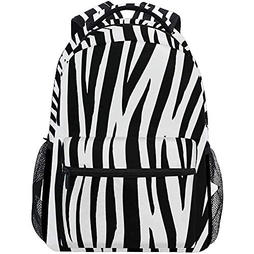 Schoudertas Zebra Print Dierlijke Huid Tijger Streep Reizen Laptop Rugzak Zwart Wit Rugzak Dagtas Vrouwen Camping Casual Mannen Outdoor Reizen Gedrukt