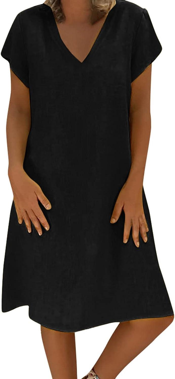 Zainafacai Summer Dress for Women, Women's Solid Linen Dress Short Sleeve A-Line Sundress Casual Plus Size Tunic Dress