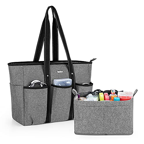 Damero Nurse Tote Bags with Organizer Insert Bag, Medical Supplies Bags with Laptop Sleeve for Home Care Nurse, Medical Students and More, Gray