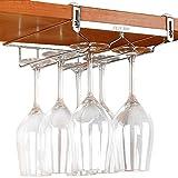 ワイングラス ホルダー ハンガー 穴あけ不要 棚厚さ調節可能 ワインホルダー 吊り下げ ステンレス製 (2列・奥行27.5cm)