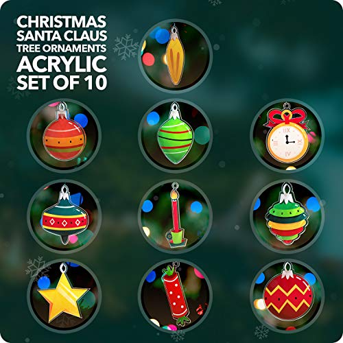 Christmas Tree Ortaments Acrylic Set of 10 - Christmas Decorations - Christmas Tree Ornaments - Tiny Christmas Tree Decorations