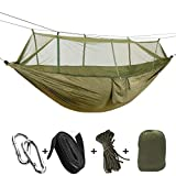 CapsA Camping Hammock Portable Indoor Outdoor Tree Hammock Hanging Straps Lightweight Easy Assembly Portable Parachute Nylon Hammock for Backpacking Travel Beach Backyard Hiking (B)