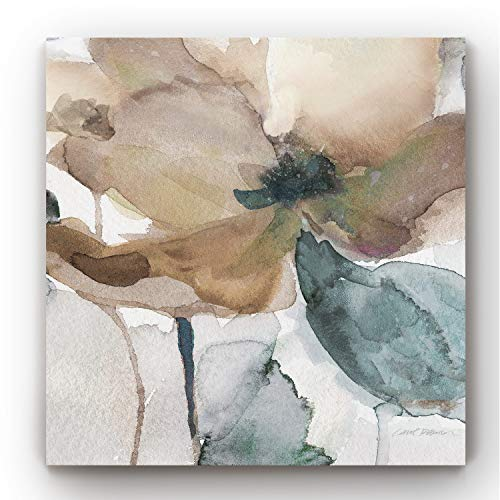 Renditions Gallery-Canvas Prints Wall Art-Watercolor Poppy I-Gallery Wrapped-Modern-Home Décor-Ready to Hang-32X32
