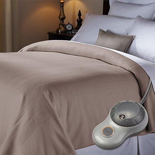 Sunbeam Quilted Fleece Heated Blanket, Full, Mushroom, BSF9GFS-R772-13A00