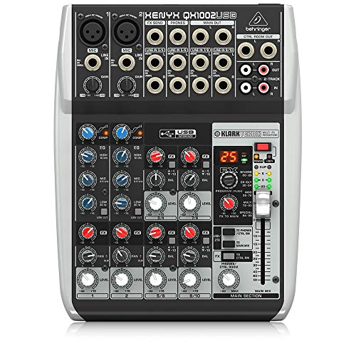 Behringer Xenyx QX1002USB Premium 10-Input 2-Bus Mixer with USB/Audio Interface,Black
