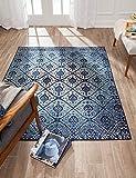 Anji Mountain Brushed Wave Area Rug, 8 x 10-Feet, Blue/Ivory