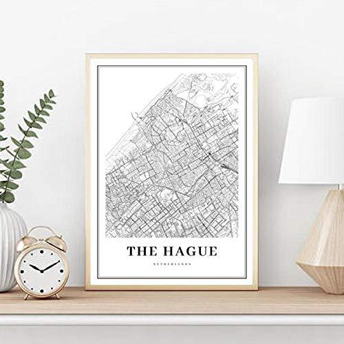 zszy Den HAAG kaart kaart kunst poster stadsstraat straat kaart kunst schilderij kamer muurkunst decoratie 50x70cmx1 stuk zonder lijst