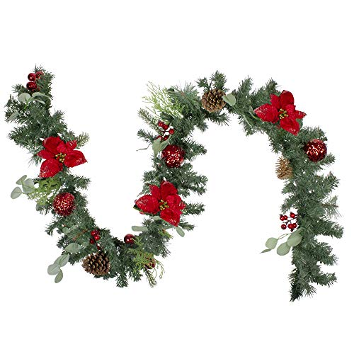 Northlight 6' Red Ornaments and Poinsettias Artificial Christmas Garland- Unlit