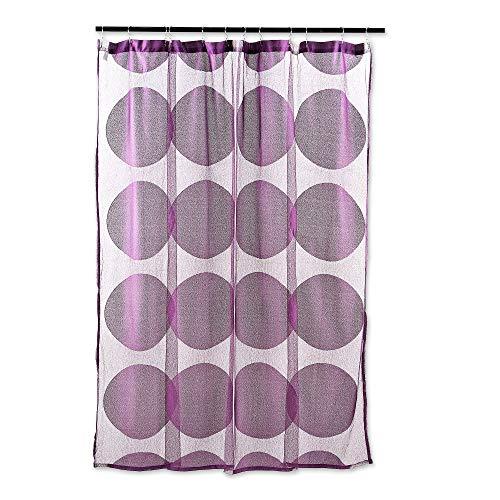 DII Eleganter moderner Duschvorhang mit Gittermuster, 100prozent Polyester, maschinenwaschbar, 183 x 183 cm Kreis 72 x 72 aubergine