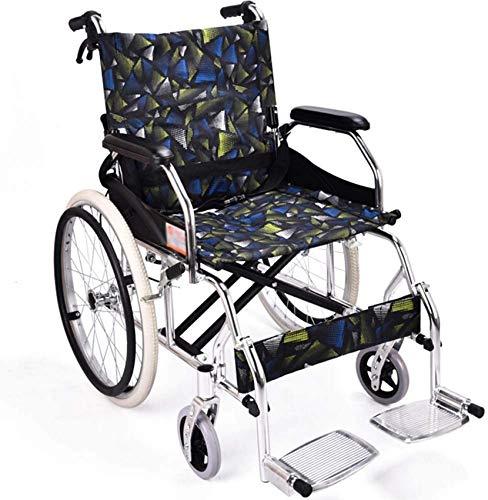 LJYY Faltbarer Rollstuhl Mit Hohen Griffen, leichtgewichtrollstuhl Drive Medical Metallic, Transportrollstuhl Reiserollstuhl, Sitzbreite 46cm, belastbarkeit 100kg
