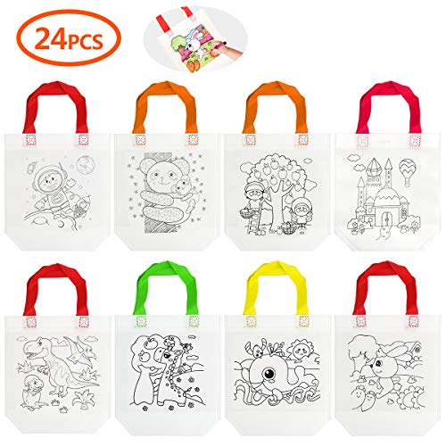 Cieovo 24 PCS DIY Colorful Graffiti Party Goodie Bags, Party Tote Bag for Halloween Candy Bags,Christmas Bag, Donate Bags,Festive Gifts, Birthday Gifts, Art Theme Party