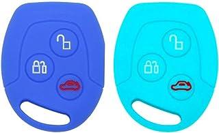 Tuqiang/® Custodia per chiave Ford Focus e Mondeo con 3 pulsanti di comando 1 pezzo in silicone colore nero