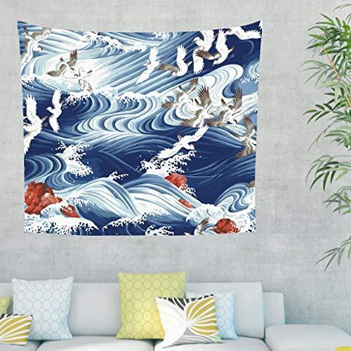 Dofeely Muurtapijt, blauw golf, wandtapijt, zee, wandtapijt, yogamat, landschap, decoratie voor wand, slaapkamer, woonkamer