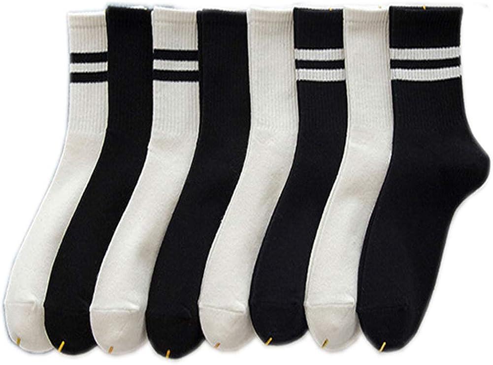 Dzyoleize Women's 4-Pack Striped Casual Socks Knit Cotton Soft Winter Warm Socks