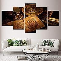 ホームデコレーションモジュラーピクチャーのためにリビングルームアート5つの小品/個ペーパーブック古いコンパスのポスタープリントキャンバス壁掛け絵画 (Color : No Frame, Size : 30x40 30x60 30x80cm)