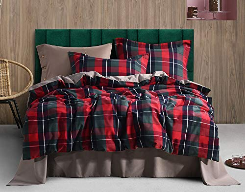 UFO Home 300 Thread Count 100% Yarn-Dyed Cotton Flannel Classical Red Green Blue Plaid Design 3pc Duvet Cover Set Full/Queen/King Size (Angle, King Size)