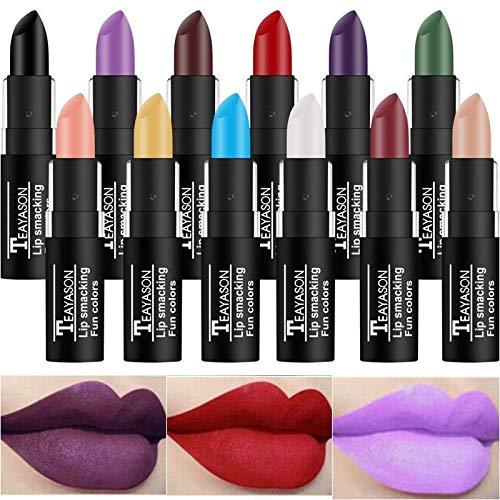 12 Farben/Set Lipgloss Make-up Lip Matte Bunter Lippenstift Blau Grün Schwarz Gelb Langlebige wasserdichte Lippenstifte für Performance Halloween Party