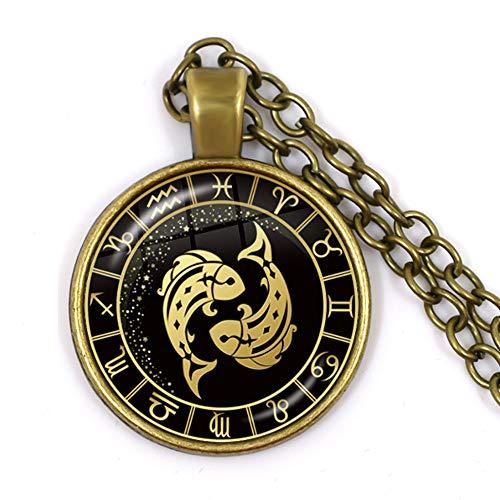 Colgante de zodiaco, Piscis, redondo, de bronce antiguo, con forma de cúpula, cadena de clavícula, collar de astrología, joyería de moda, regalo de cumpleaños para mujeres y hombres