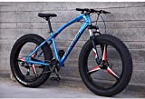 BMX Mountain Bikes 26 Inch Fat Tire Hardtail Mountain Bike Dual Suspension Frame And Suspension Fork All Terrain Bicycle Men's And Women Adult 5-25 (Color : 27 Speed, Size : Blue 3 impeller)