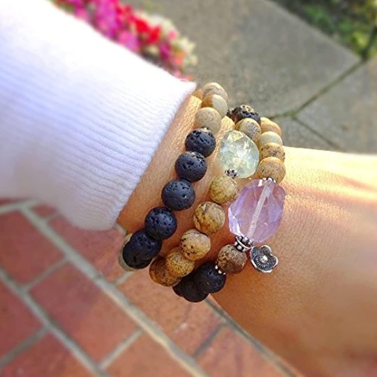Essential oil diffuser stretch bracelet, volcanic lava rock & jasper, gemstone nugget, amethyst quartz crystal healing stones