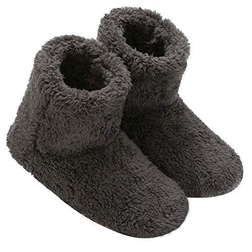 Mianshe 北欧 ルームシューズ もこもこ ルームブーツ 暖かい ボアスリッパ 男女兼用 (カ—ボンブラック XLサイズ 28.5cmくらいまで)