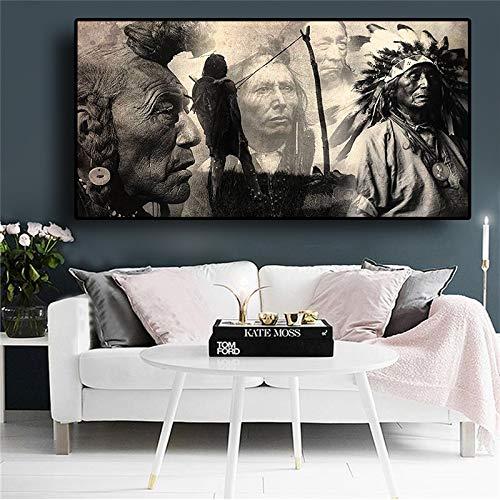 Zwart-wit-Indiaans schilderij-affiche en bedrukt portret-canvas-kunst-Scandinavisch wandafbeelding voor de woonkamer 50x100cm