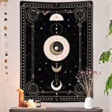 Moon Phase Vertical Tapestry, Black and White Tarot Card Tapestry Wall Hanging for Bedroom, Aesthetic Tapestries Poster for Men Blanket College Dorm Home Decor (Black, 40W X 60H)