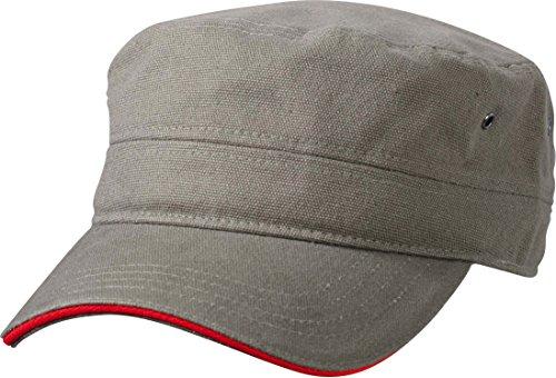 Myrtle Beach Sandwich Cap im Military-Stil aus robustem Baumwollcanvas (olive/red)