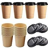 liuer 50PCS Bicchieri Carta Caffe con Coperchio USA e Getta Bicchieri Acqua Bicchieri Carta per Il Prendere Il caffè,Il tè,Le Bevande Calde(8OZ)