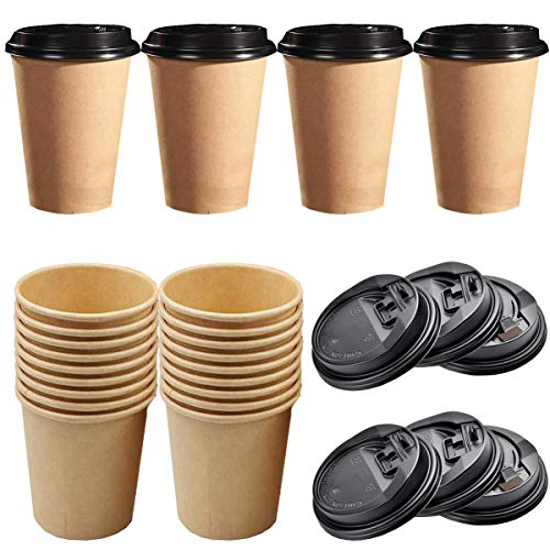 Liuer 50PCS Disposable Coffee Cups with Lids Single Wall Kraft Brown Cups Paper Cups Disposable Cups for Coffee,Tea,Hot and Cold Liquids Drinks(8OZ)