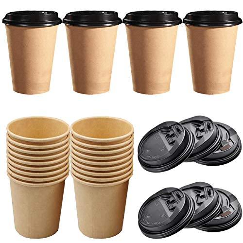liuer 50PCS Vasos Desechables Cafe con Tapa Vaso de Papel Kraft para...