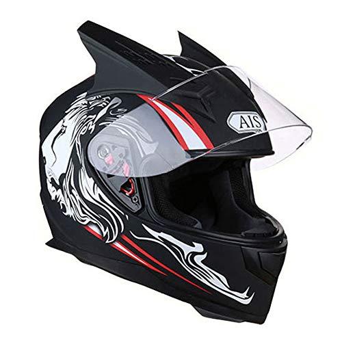 QPFH Casco de Motocicleta de Rostro Completo, Casco de Moto R1-605, Casco de MTB ATV Dirt Bike Matt Black Lionhead Equipo de protección para Hombres y Mujeres,XL