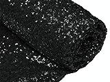 ShinyBeauty Polsterstoff mit Pailletten, 92 CM, Schwarz,