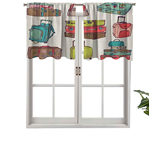 Cenefas de cortina para ventana con bolsillo para barra, maletas coloridas, diseño inspirado en las vacaciones, estilo vintage, juego de 1, 137 x 45 cm para ventana de cocina