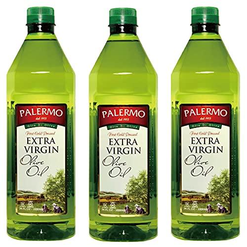 パレルモ エキストラバージン オリーブオイル 1,000ml X 3本セット『無添加・低温圧搾・大容量1リットル・ペットボトル入り』Palermo Extra Virgin Olive Oil 1L X 3pcs