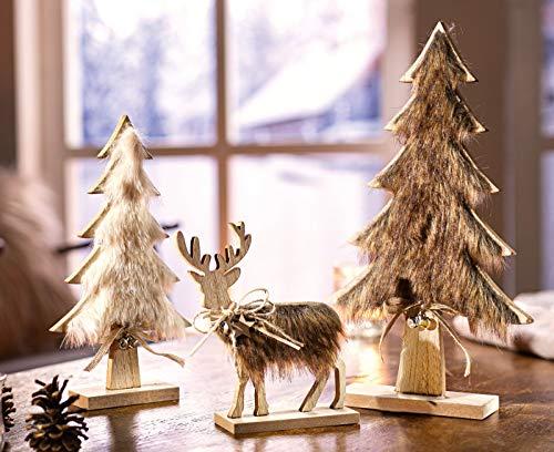"""Holzfiguren """"Tannen & Hirsch"""", 3er Set, rustikale Deko, Tierfigur und Tannen aus Holz mit Fell, Weihnachtsdeko, Winterdeko"""