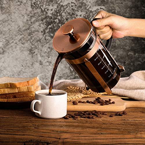 Veken French Press Coffee Maker (34 oz), 304 Stainless Steel Coffee...