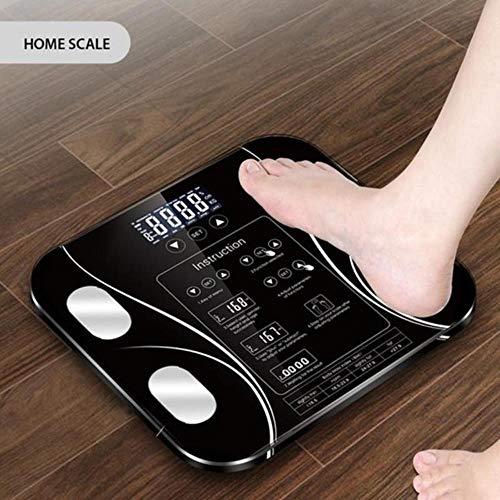 Básculas de grasa corporal Báscula digital inteligente Báscula electrónica de peso Básculas de control táctil de alta precisión Báscula corporal Báscula de baño, negro