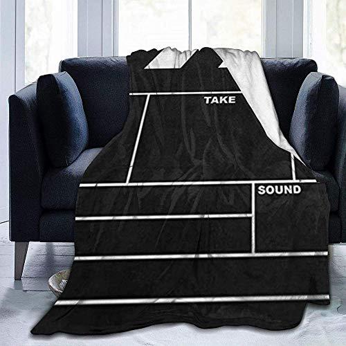 DWgatan Couverture,Couvre-lit de canapé Polyvalent Doux et Chaud de qualité Classic Movie Clapboard Black Printed Blanket for Bedroom Living Room Couch Bed Sofa -60\