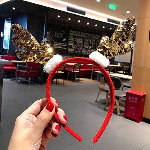 Ubrand Weihnachtsstirnband Doppelköpfiger Alter Mann Hirschstirnband Weihnachtsschmuck Rote Geweihkopfschnalle Haarschmuck Weihnachtsmütze Farbwechselndes Geweih Gold