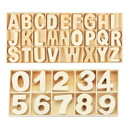216 Pezzi Lettere e Numeri in Legno Naturale, Lettere in Legno per Artigianato per Insegnamenti di Bambini o Decorazioni Creative di Casa