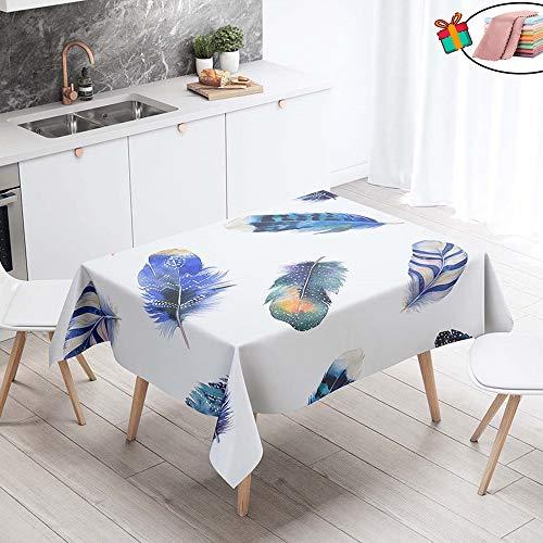 Morbuy Nappe Anti Tache Rectangulaire, Imperméable Étanche à l'huile 3D Imprimé Carrée Couverture de Table Lavable pour Ménage Cuisine Jardin Picnic Exterieur (Bleu Royal Plume,140x220cm)